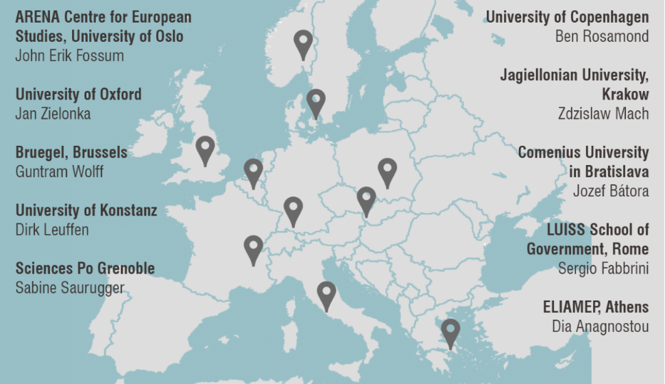 Map of Europe with overview of all the project partners