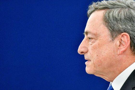 Bilde av ansiktet til Mario Draghi, president i Den europeiske sentralbanken.