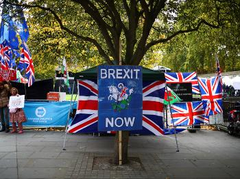 Pro- Brexit demonstrater i London foran parlamentet.