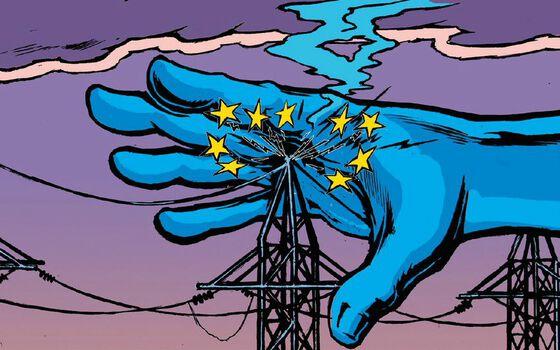 Illustrasjon av en stor blå hånd som tar på kraftledninger og svir seg.