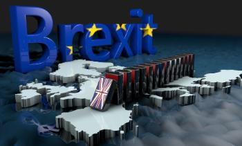 Animation photo of the word Brexit with big blue letters on top of a map of the United Kingdom