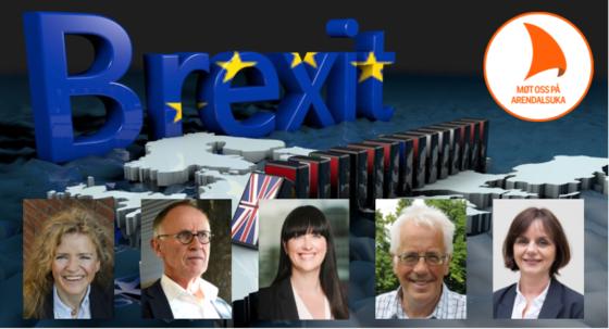 Europakart med Brexit i store blå bokstacer over og dominobrikker av britiske flagget som faller