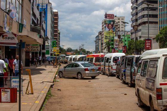 Bilde av bygate i Harare