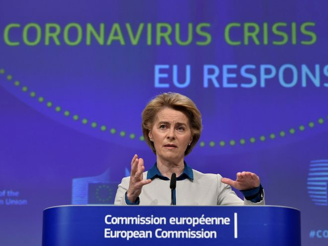 The president of the European Commission holding a speech.