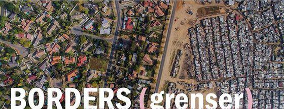 """Illustrasjonsbilde av fattig og rikt boligområde med tekst: """"Borders"""""""