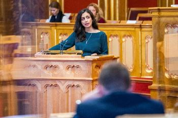 Deputy leader of the Labour Party, Hadia Tajik, speaking in the Parliament.