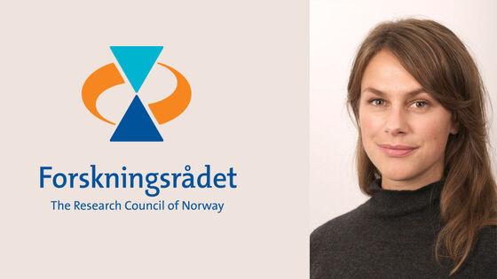 Logoen til Forskningsrådet ved siden av portrettbilde av Maren Toft