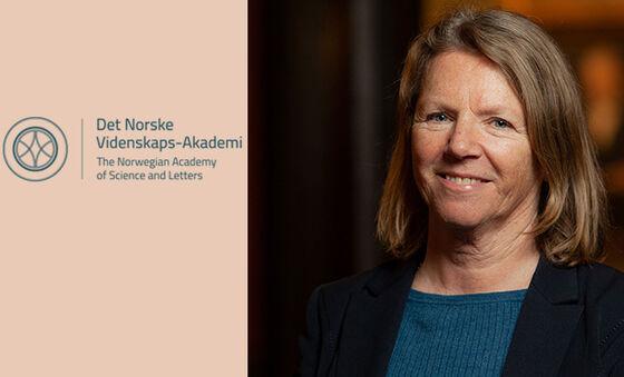 Gunn Birkelund og logoen til Vitenskapsakademiet