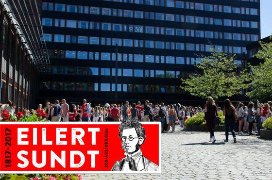 Bilde av SV- fakultetet med Eilert Sundt -banner