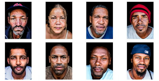 Screenshot from Andrea Wise's art project Returned with pictures of deported migrants in Cape Verde