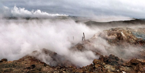 Iceland has cheap and environmentally friendly power because the volcanic activity that formed the island 50 million years ago still provides an important natural resource. Photo: Gunnuhver geothermal area, by Carsten ten Brink, flickr